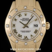 Rolex 18k Y/G White Roman Dial Pearlmaster Datejust B&P 69318