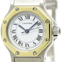 Cartier Polished Cartier Santos Octagon 18k Gold Steel...