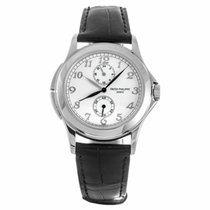Patek Philippe 18k White Gold Calatrava Travel Time Watch...