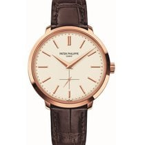 Patek Philippe Calatrava 38mm Rose Gold Watch Brown Leather Strap