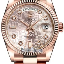 Rolex Day-Date 36mm Everose Gold Fluted Bezel 118235 Pink...