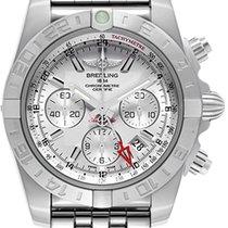 Breitling Chronomat 44 GMT Chronograph Silver Dial Full Steel NEW