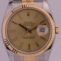 Rolex Datejust 36mm/Steel and Gold/Yellow Gold Fluted Bezel/11...