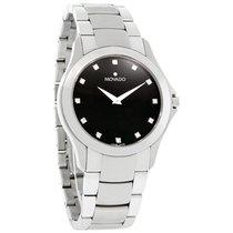 Movado Military Mens Diamond Black Dial Swiss Quartz Watch...