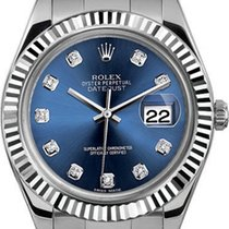 Rolex 41mm Datejust II Stainless Steel 116334 Custom Blue Diamond