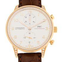 萬國 (IWC) Portuguese 18 K Rose Gold With Diamonds Silvery White...