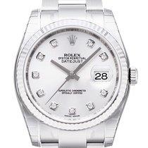 Rolex Datejust 36mm Stahl/Weißgold Silber Dia. Zifferblatt