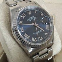 Rolex Oyster Datejust Steel Deep Blue Roman Dial 36 mm (Full Set)