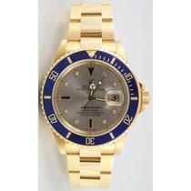 Rolex Submariner 16618 18K Yellow Gold Factory Slate Serti...