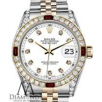 Rolex Ladies White Rolex 26mm Datejust 2tone 18k-ss Ruby &...