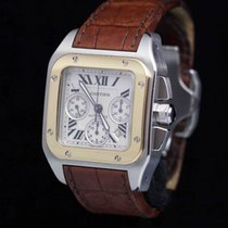 Cartier Santos 100XL Chrono. St Gold Full Set Brilliant Condition