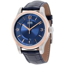 Oris Classic Date Blue Dial Blue Leather Strap Men's Watch...