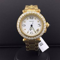 Cartier Pasha 32mm 18k Yellow Gold Arabic White Dial Factory...