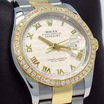 Rolex Datejust 116233 18k Yellow Gold /ss 1.35ct Bezel Ivory...