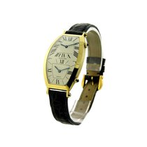 Cartier W1502853 Torneau 2-Time Zone in Yellow Gold - on Black...