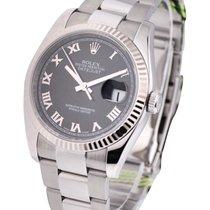 Rolex Unworn 116234 Steel Mens Datejust 36mm with Black Roman...