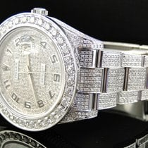 Rolex Iced Out Mens New Rolex Date Just II 2 Flooded With...