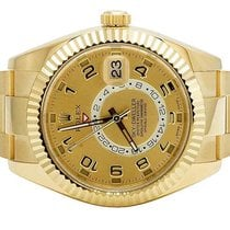 Rolex Mens 18K Yellow Gold 326938 Rolex Champagne Dial Sky...
