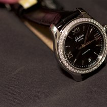 Glashütte Original Ladies Black Dial Black Strap Gold ...