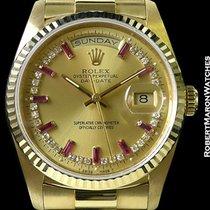 Rolex Day Date 18238 18k Baguette Ruby Diamond Myriad Dial Box...