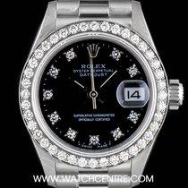 Rolex 18k White Gold Black Diamond Dial Datejust Ladies 69139