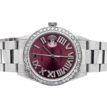 Rolex Mens Rolex 36 MM Datejust Oyster Red Roman Stainless...