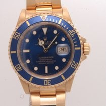 Rolex Submariner 18K Yellow Gold 16618  Blue Face
