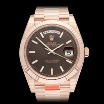 Rolex Day-Date 40 Chocolate 18k Rose Gold Gents 228235 - COM1254