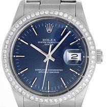 Rolex Date Men's Stainless Steel Watch Blue Dial 15000