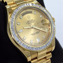 Rolex Day-date II Presi 218238 18k Yellow G 4.0ct Baguettes...