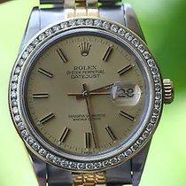 Rolex 2tone Mens 36mm Datejust 18k Yellow Gold Steel Diamond...