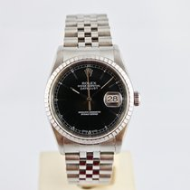 Rolex Datejust 16220 Black Index Dial -  36mm Jubile - Saphirglas