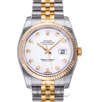 Rolex Datejust White Dial Yellow Gold/Steel Jubilee Bracelet D...
