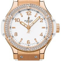 Hublot Big Bang 18K Rose Gold Rubber Diamonds Ladies Watch