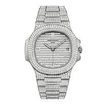 Patek Philippe 5719/1G-001 Nautilus White Gold Diamond Pave...