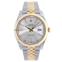 Rolex DATEJUST 41mm Steel & 18K Yellow Gold Watch Silver Dial