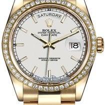Rolex Day-Date 36mm Yellow Gold Diamond Bezel 118348 White...