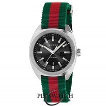 Gucci Quartz GG2570 Large  Black Dial Red And Green Nylon  41mm R