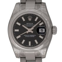 Rolex - Ladies Datejust : 179160 black dial on Heavy Oyster...