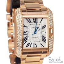 Cartier Tank Anglaise 18k Rose Gold Diamond Bezel Automatic...