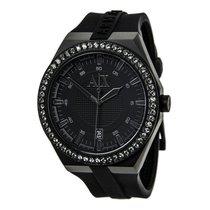 Armani NEW Exchange Classic AX1217 Black Silicone Swarovski...