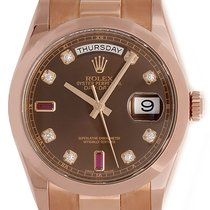 Rolex President Day-Date Men's Rose Gold Watch Brown...