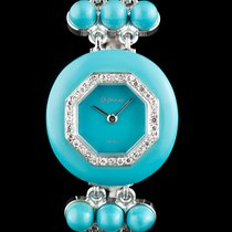 DeLaneau 18k W/Gold & Turquoise Diamond Bezel Ladies Cocktail...