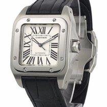 Cartier W20106X8 Santos 100 Midsize Automatic Men Black...