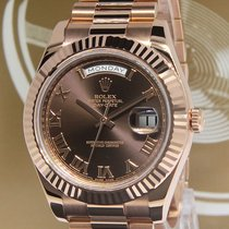 Rolex Day-Date II President 18k Rose Gold Chocolate Dial Watch...