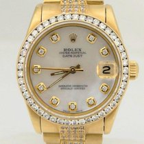 Rolex Midsize Rolex 18k Yellow Gold Datejust Diamond Bezel Mop...