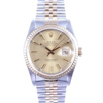 Rolex Mens 18k/SS Datejust with Champagne Stick Marker Dial 16233