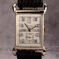 Longines 1944 Tank-style 14kt. Gold Watch With Diamonds...