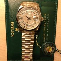Rolex Day-Date  White Gold Fluted Bezel  MOP Carou