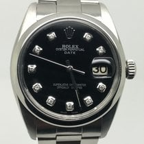 Rolex DATE 34MM AUTOMATIC  BLACK DIAMONDS DIAL PERFECT CONDITION